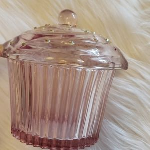 None Accents - Small glass cupcake with lid